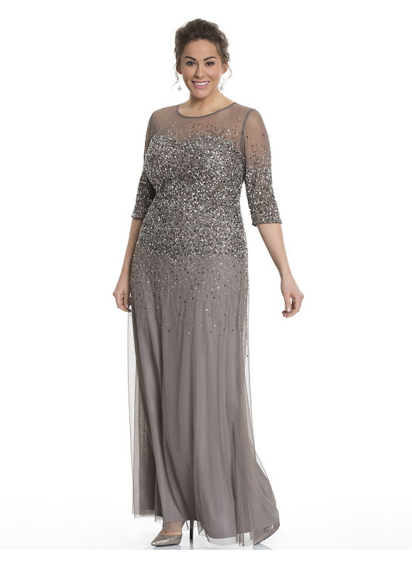 Plus Size Illusion beaded gown by Adrianna Papell Lane Bryant Women's Size 16, Dark khaki