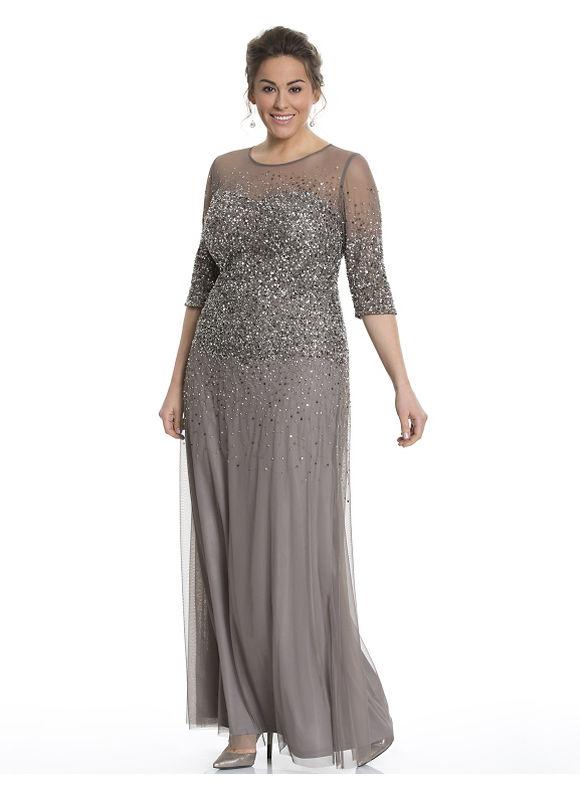 Plus Size Illusion beaded gown by Adrianna Papell Lane Bryant Women's Size 14, Dark khaki - Lane Bryant ~ Trendy Plus Size Clothes