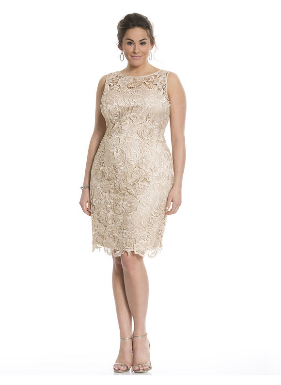 Plus Size Lace illusion dress by Adrianna Papell Lane Bryant Women's Size 16, white