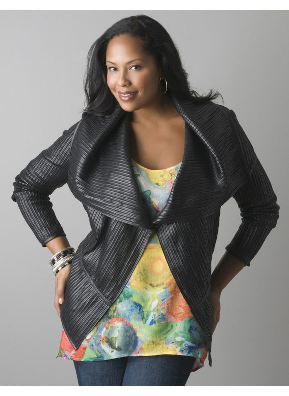 Pasazz.net Favorite -  Lane Bryant Pieced faux leather moto jacket - Women's Plus Size/Black