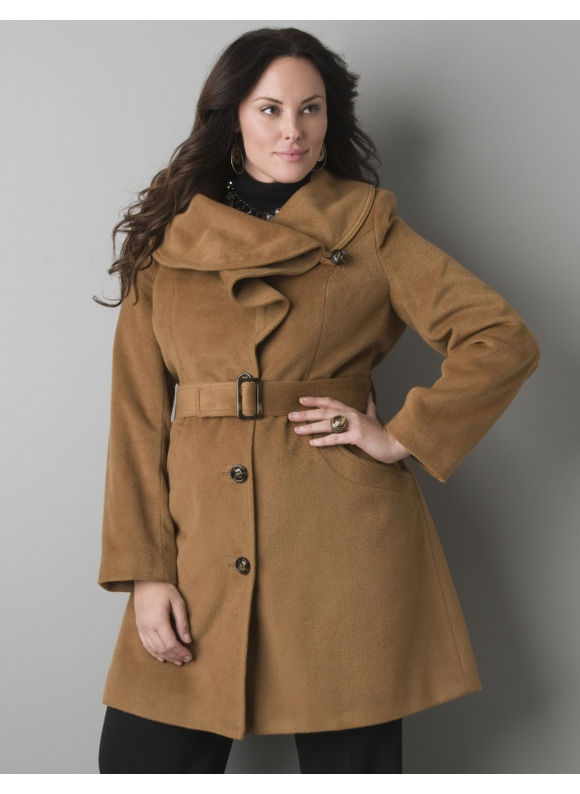 Lane Bryant Ruffled collar coat - Women's Plus Size/Tannin - Size