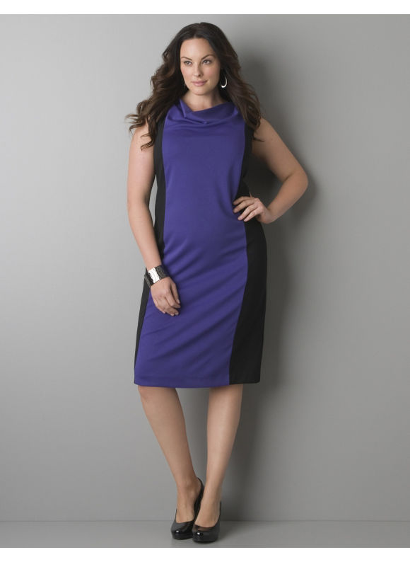 Pasazz.net Favorite -  Lane Bryant Ponte knit sleeveless colorblock dress - Women's Plus