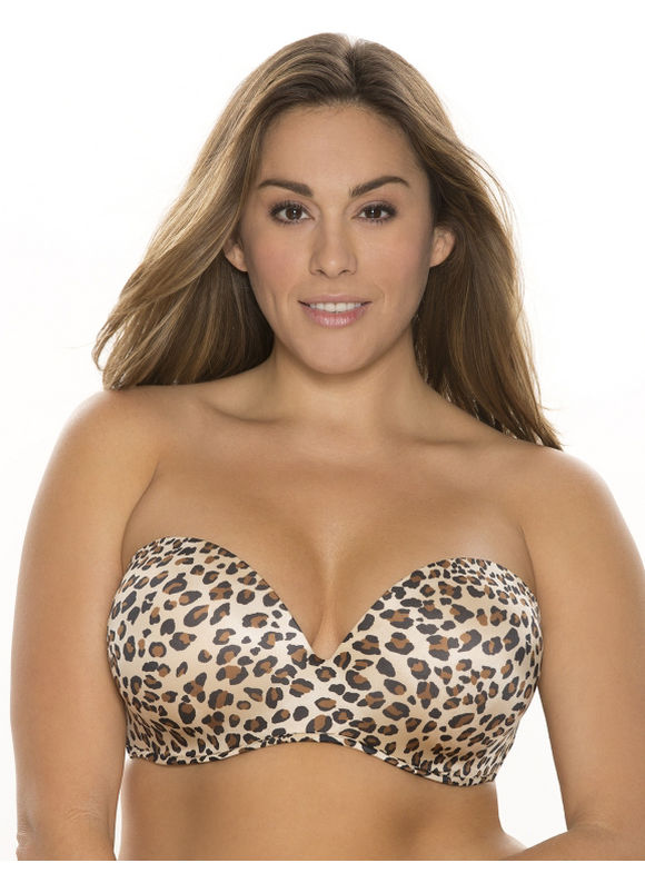 Cacique Plus Size Animal print (Leopard Print) multi-way strapless bra, Women's, Size: 42DDD