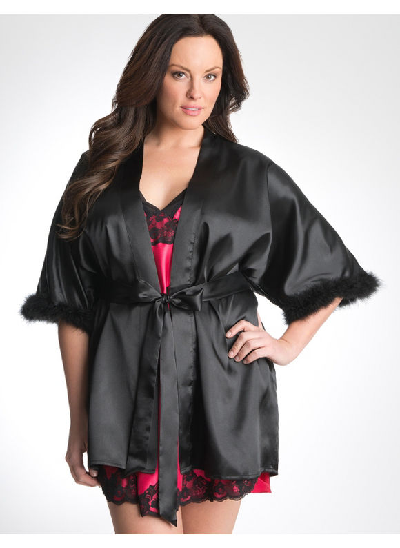 Lane Bryant Feather trim robe - Women's Plus Size/Black - Size 14/16,