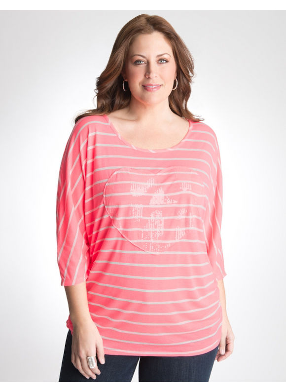 Lane Bryant Sequin heart tunic - Women's Plus Size/Knockout pink -