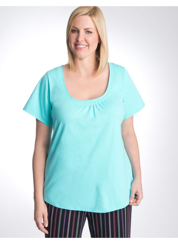 Lane Bryant Plus Size Pleated sleep tee - Blue Curacao