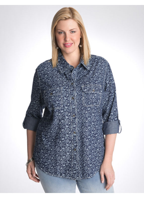 Lane Bryant Paisley shirt by Seven7 - Women's Plus Size/Dark rinse