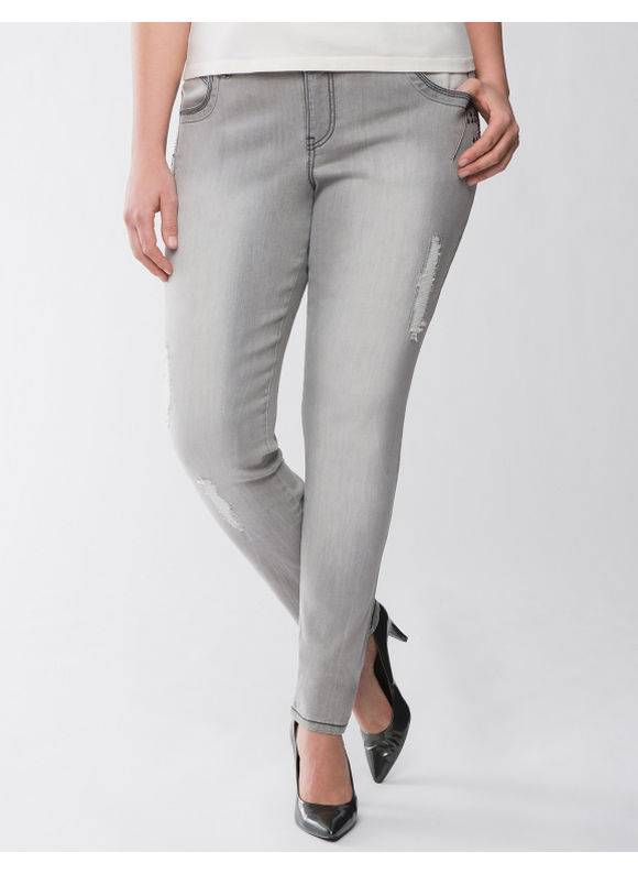Lane Bryant Plus Size Lane Collection distressed skinny jean - - Women's Size 12, Frost gray