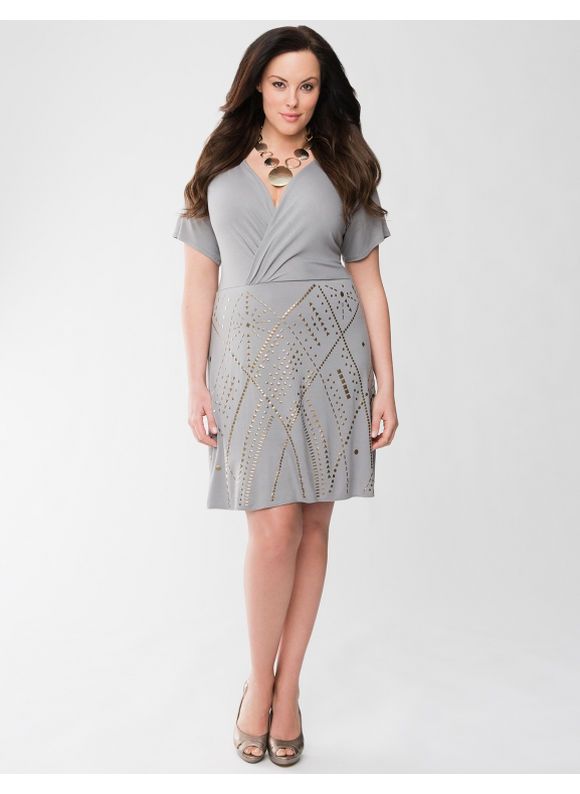 Lane Bryant Plus Size Lane Collection studded dress - - Women's Size 4X, Frost gray