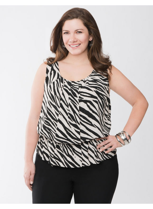 Lane Bryant Zebra peplum top - Women's Plus Size/Black