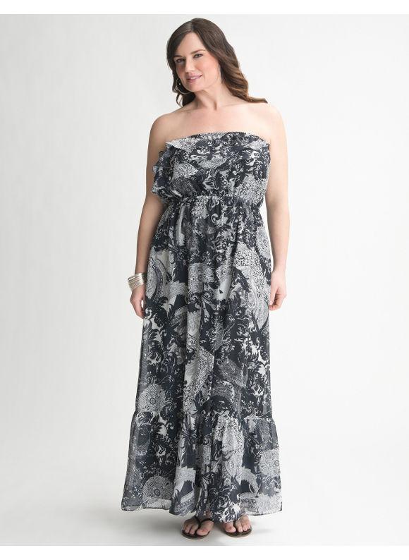 cef0b044639 Lane Bryant Ruffle top maxi dress - Women s Plus Size Black - Size