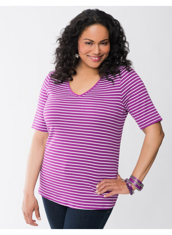 Lane Bryant Plus Size Striped V-neck tee - Scuba blue, Cabaret, Sparkling grape