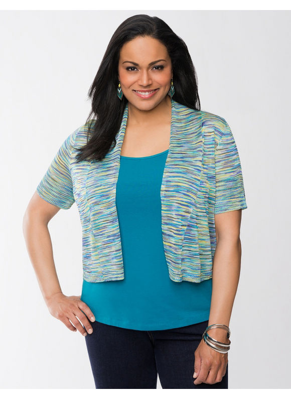Lane Bryant Plus Size Space dye shrug - - Capri breeze