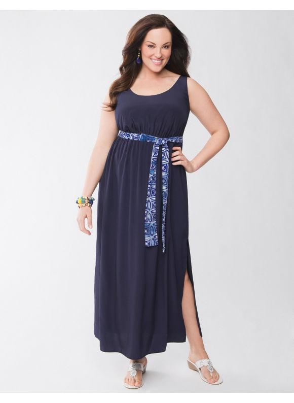 Lane Bryant Plus Size Lane Collection tie back maxi dress - - Women's Size 1X,2X,3X,4X, Dark water