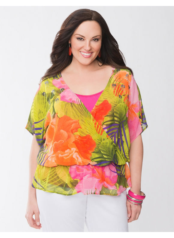 Lane Bryant Plus Size Sequin floral drama top