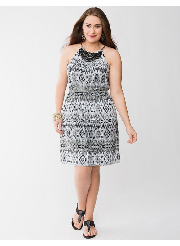 Lane Bryant Plus Size Print embellished knit dress