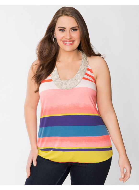 Lane Bryant Plus Size Striped hardware tank - Multi
