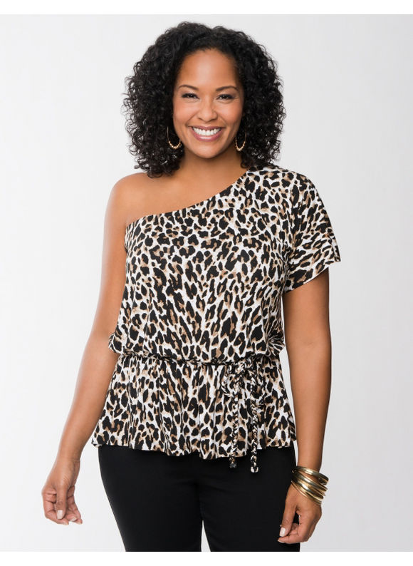 Lane Bryant Plus Size One shoulder animal print top -  Animal