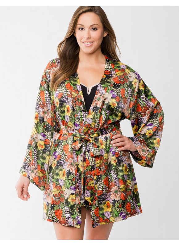 Lane Bryant Plus Size Tru to You charmeuse floral robe -  Floral Print