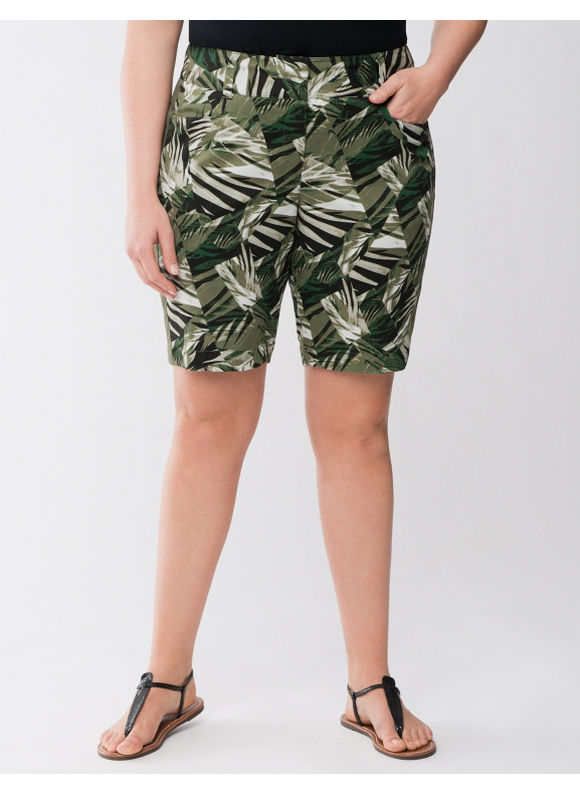 Lane Bryant Plus Size Lane Collection printed Bermuda short - Black