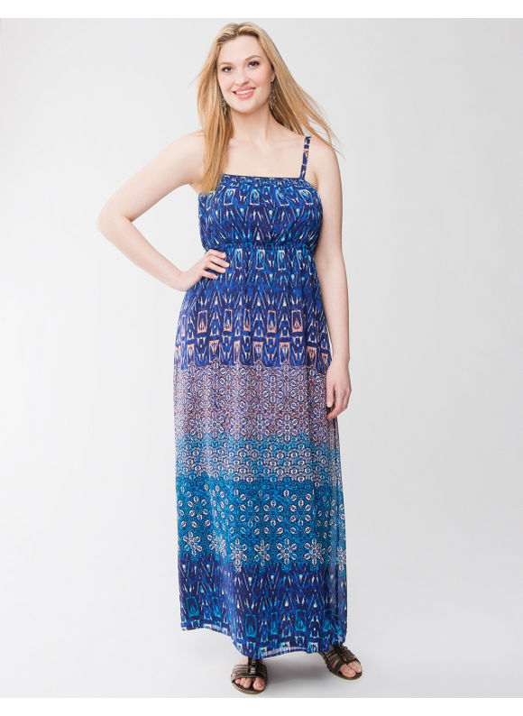Pasazz.net Favorite -  Lane Bryant Plus Size Mixed print maxi dress - - Women's Size 14/16, Blueprint