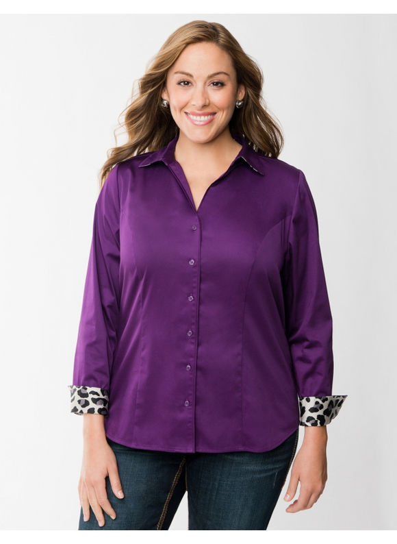 Pasazz.net Favorite -  Lane Bryant Plus Size The Perfect Shirt - - Women's Size 22, Purple