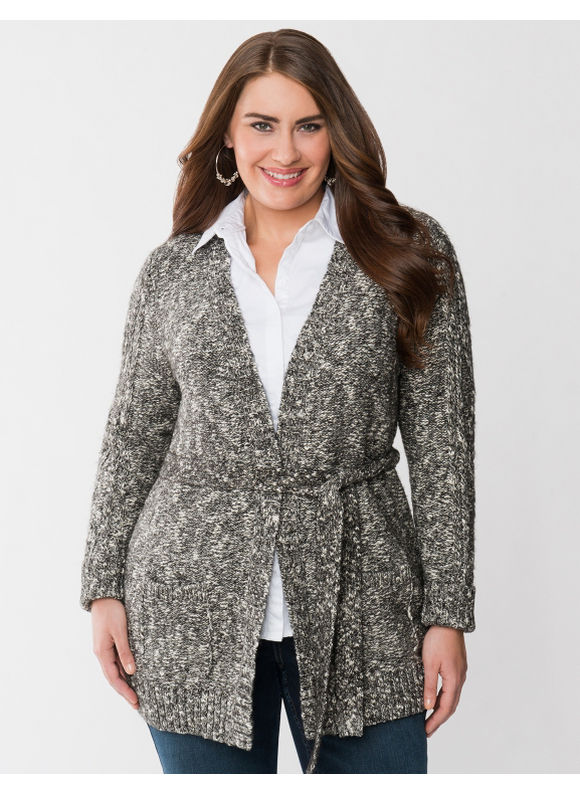 Lane Bryant Plus Size Marled sweater coat