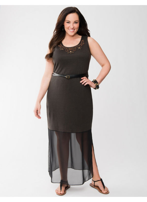 Lane Bryant Plus Size Lane Collection chiffon hem maxi dress