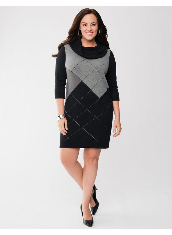 Pasazz.net Favorite -  Lane Bryant Plus Size Argyle cowl neck sweater dress - - Women's Size 14/16,18/20,22/24,26/28, Black