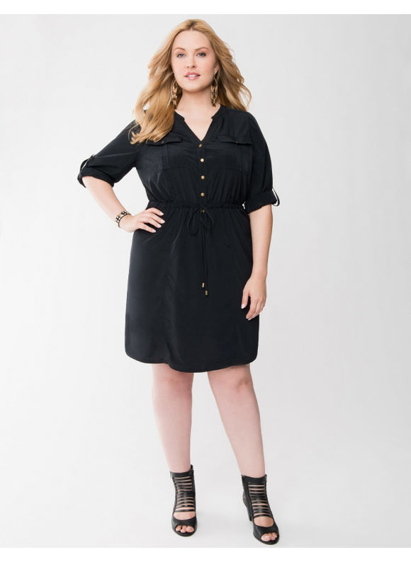 Lane Bryant Plus Size Drawstring shirt dress - - Black