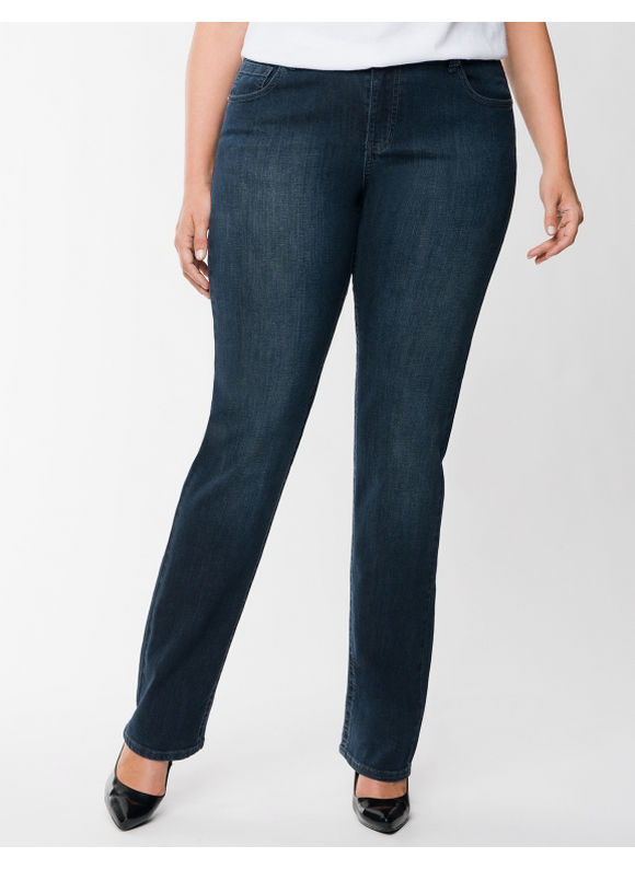 Lane Bryant Plus Size Straight fit straight leg jean - - Women's Size 14, Dark Wash
