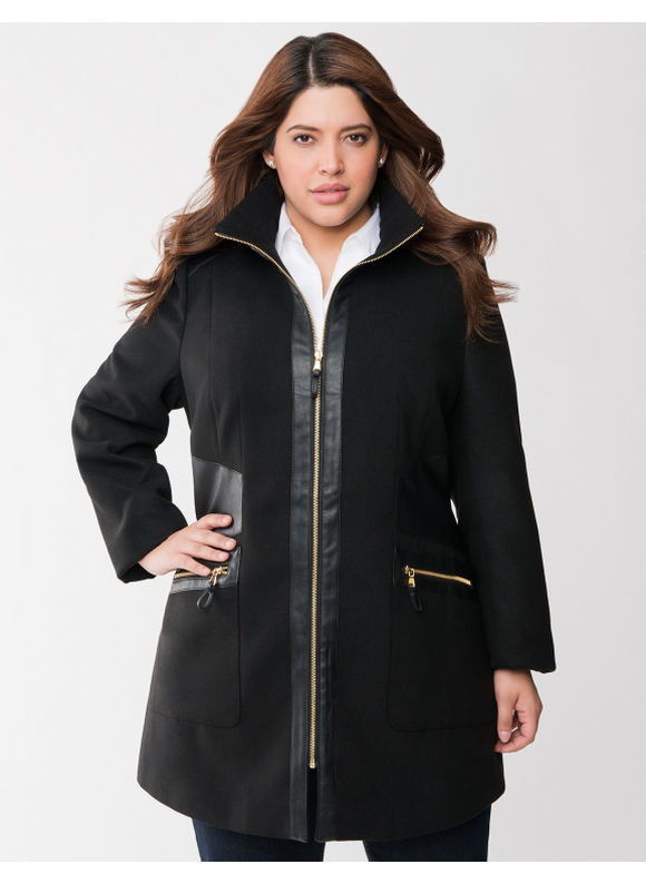 Lane Bryant Plus Size Faux leather trim coat - Black