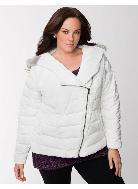 Lane Bryant Plus Size Lane Collection embellished puffer coat