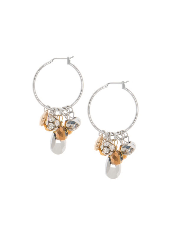 Lane Bryant Women's Mirrored bead hoop earrings by -