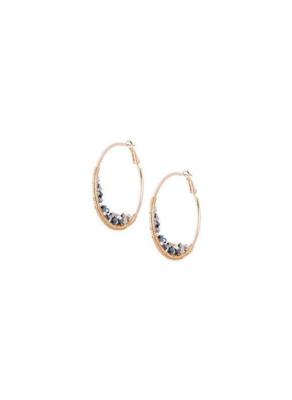 Lane Bryant Women's Faceted bead hoop earrings by -