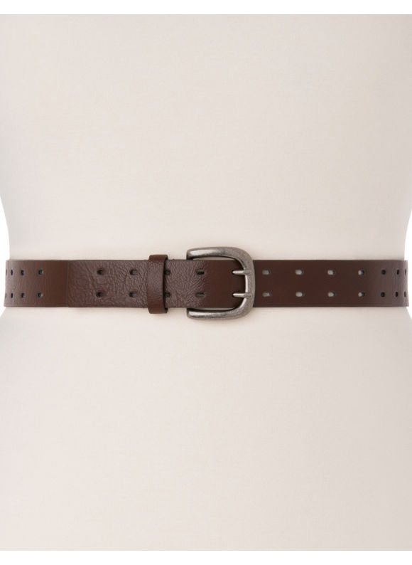 Lane Bryant Plus Size Double prong perforated belt - Carob
