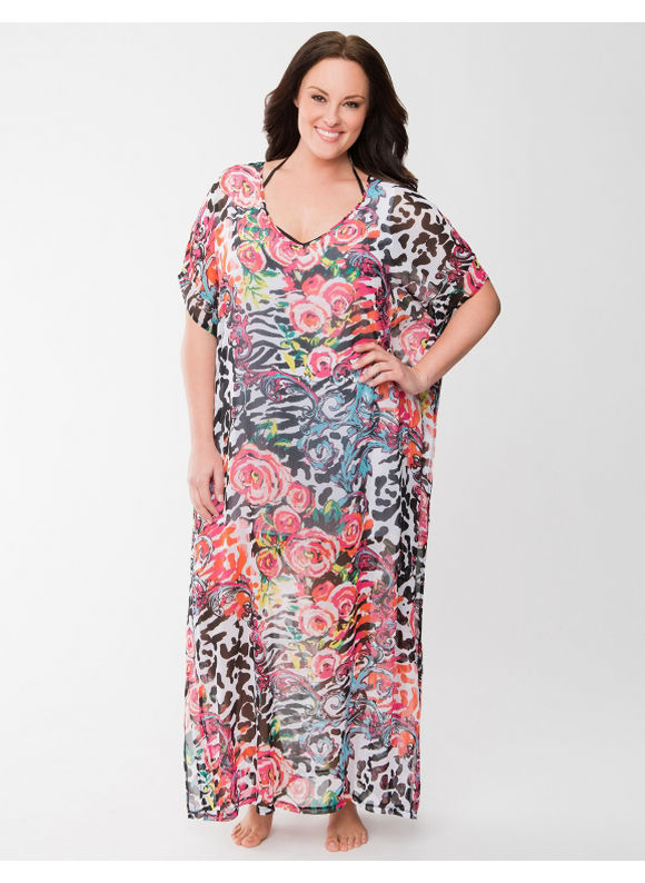 Lane Bryant Plus Size Floral chiffon swim cover-up - Floral Print
