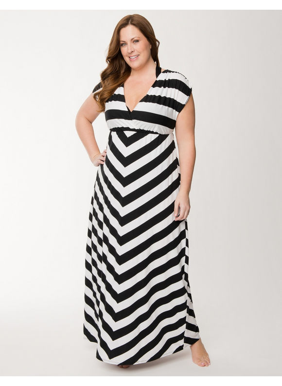Lane Bryant Plus Size Striped maxi swim cover up - Stripes