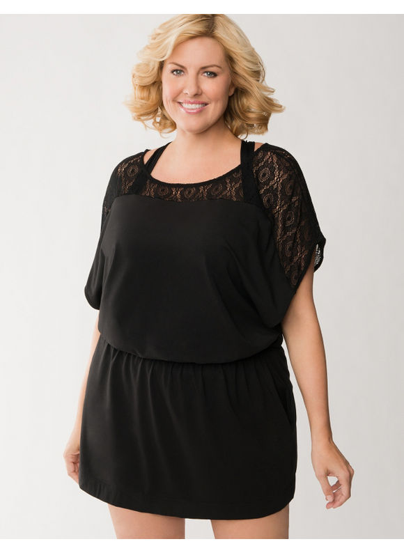 Lane Bryant Plus Size Crocheted shoulder swim cover-up -  Black