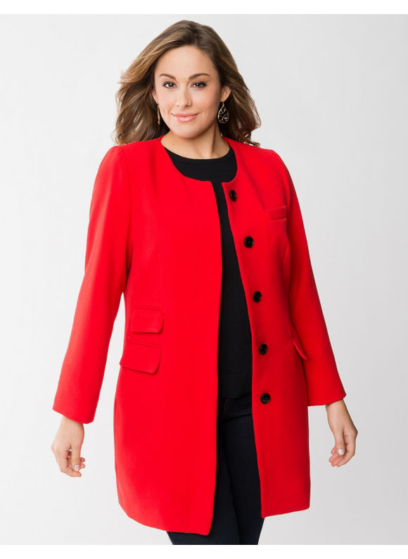 Lane Bryant Plus Size Collarless coat - Barbados cherry