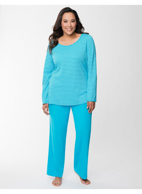 Lane Bryant Plus Size Metallic stripe PJ set -  Metallic Stripe