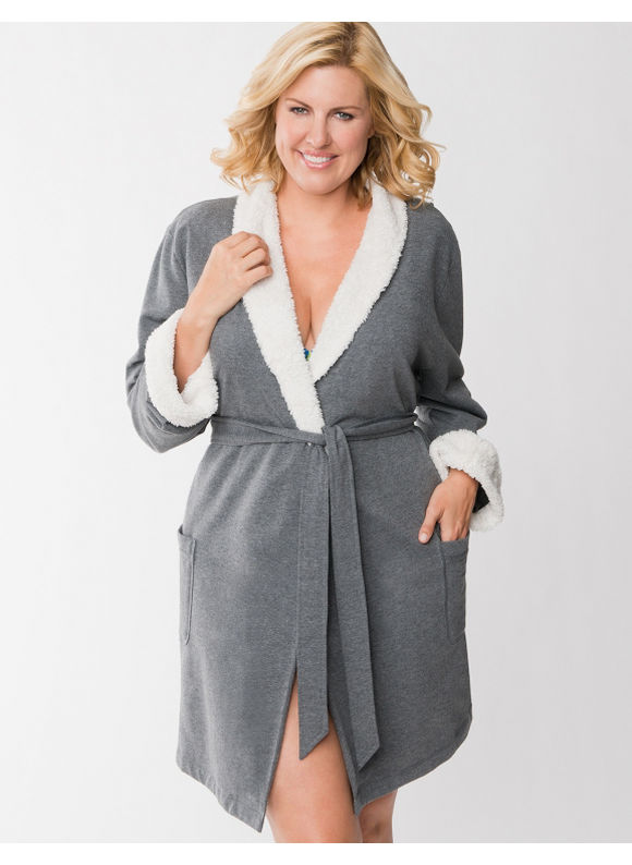 Lane Bryant Plus Size Shawl collar robe - Heather Grey