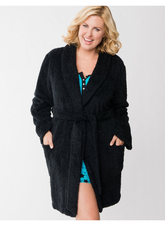 Lane Bryant Plus Size Sparkle fleece robe - Black