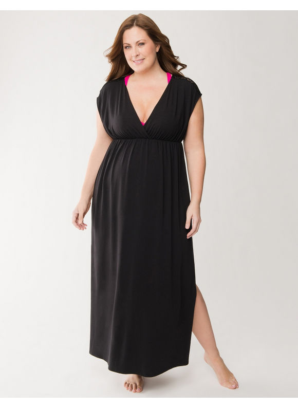 Lane Bryant Plus Size Crocheted shoulder maxi swim cover-up -  Black