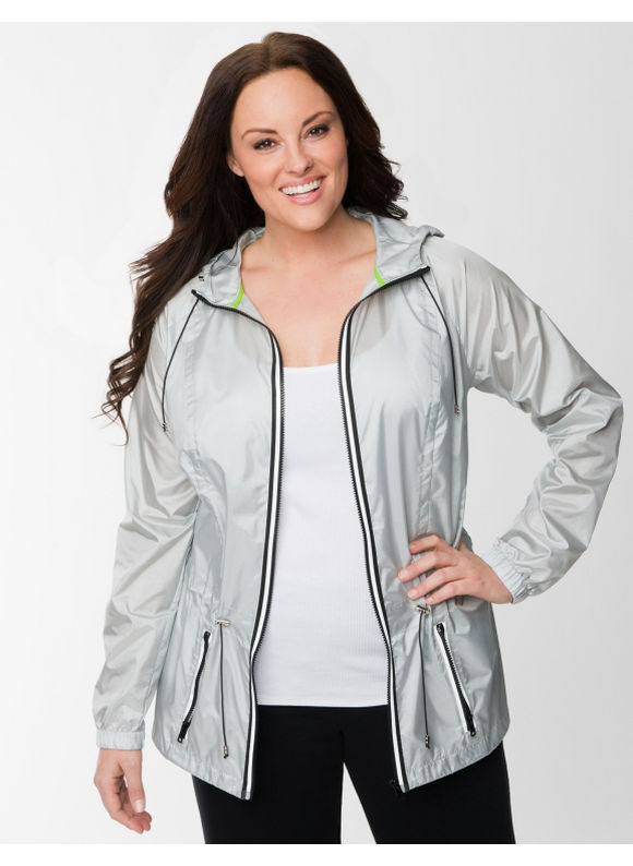 Lane Bryant Plus Size Anorak active jacket - Silver