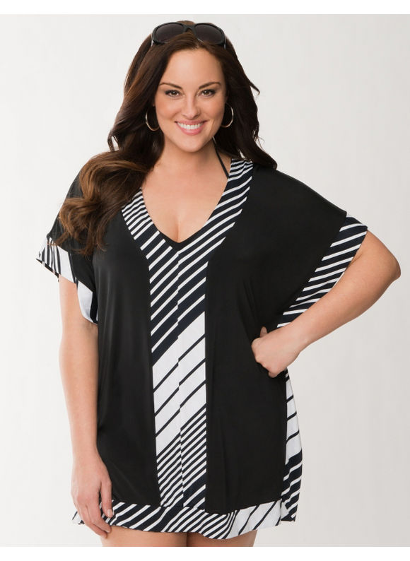 Lane Bryant Plus Size Striped swim cover-up - Black & White