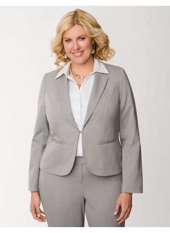 Lane Bryant Plus Size Tailored Stretch double stripe jacket - Light heather gray