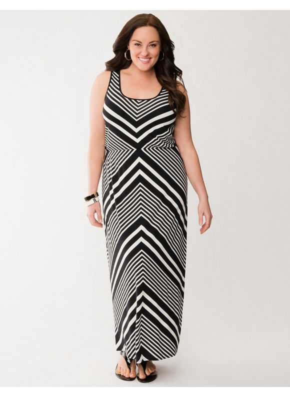 Lane Bryant Plus Size Placed chevron maxi dress - Black