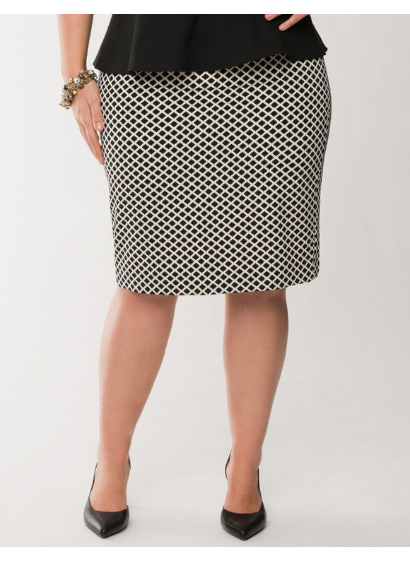 Lane Bryant Plus Size Tile print twill pencil skirt - -  Gardenia