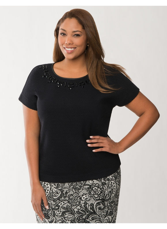 Lane Bryant Plus Size Embellished ponte tee Size 14/16, black